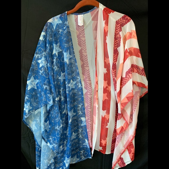 06fc0e477 Xhilaration Jackets & Coats | Red White Blue Patriotic Kimono Nwot ...